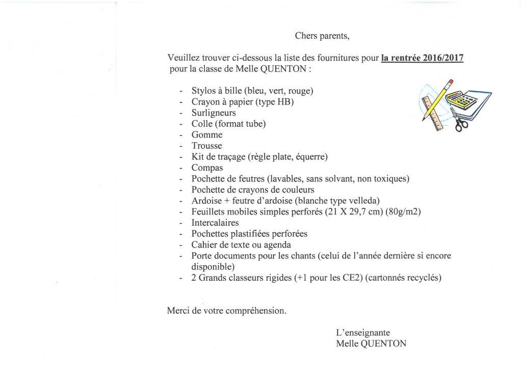fournitures CE2 CM1 CM2